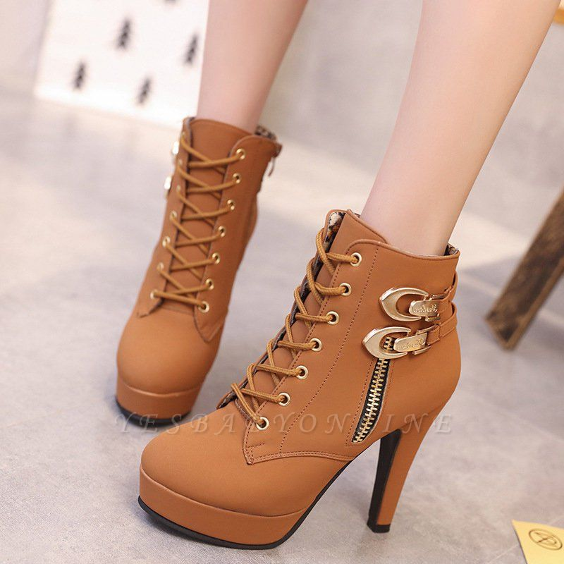 Daily Lace-up Chunky Heel Round Toe Buckle Stiletto Heel Boots