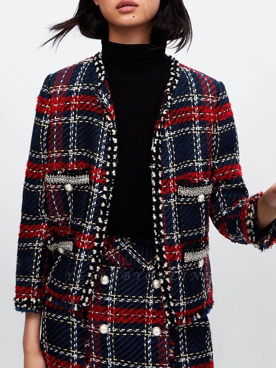 Red Crew Neck Beaded Casual Checkered/Plaid Pockets Coat