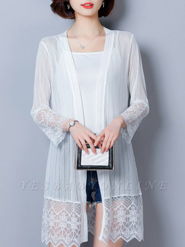 Paneled Casual Shift Long Sleeve Chiffon Coat