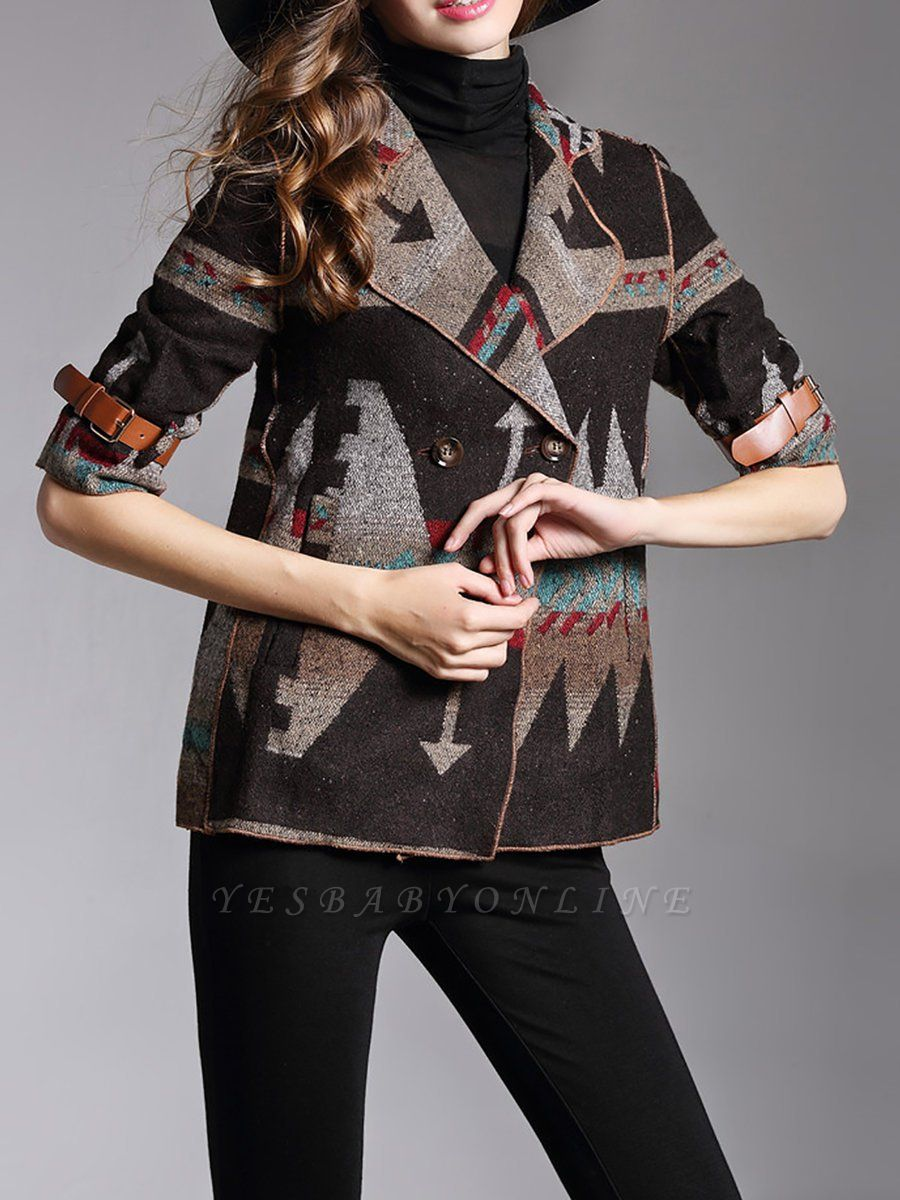 Khaki 3/4 Sleeve V neck Cotton Buttoned Coat