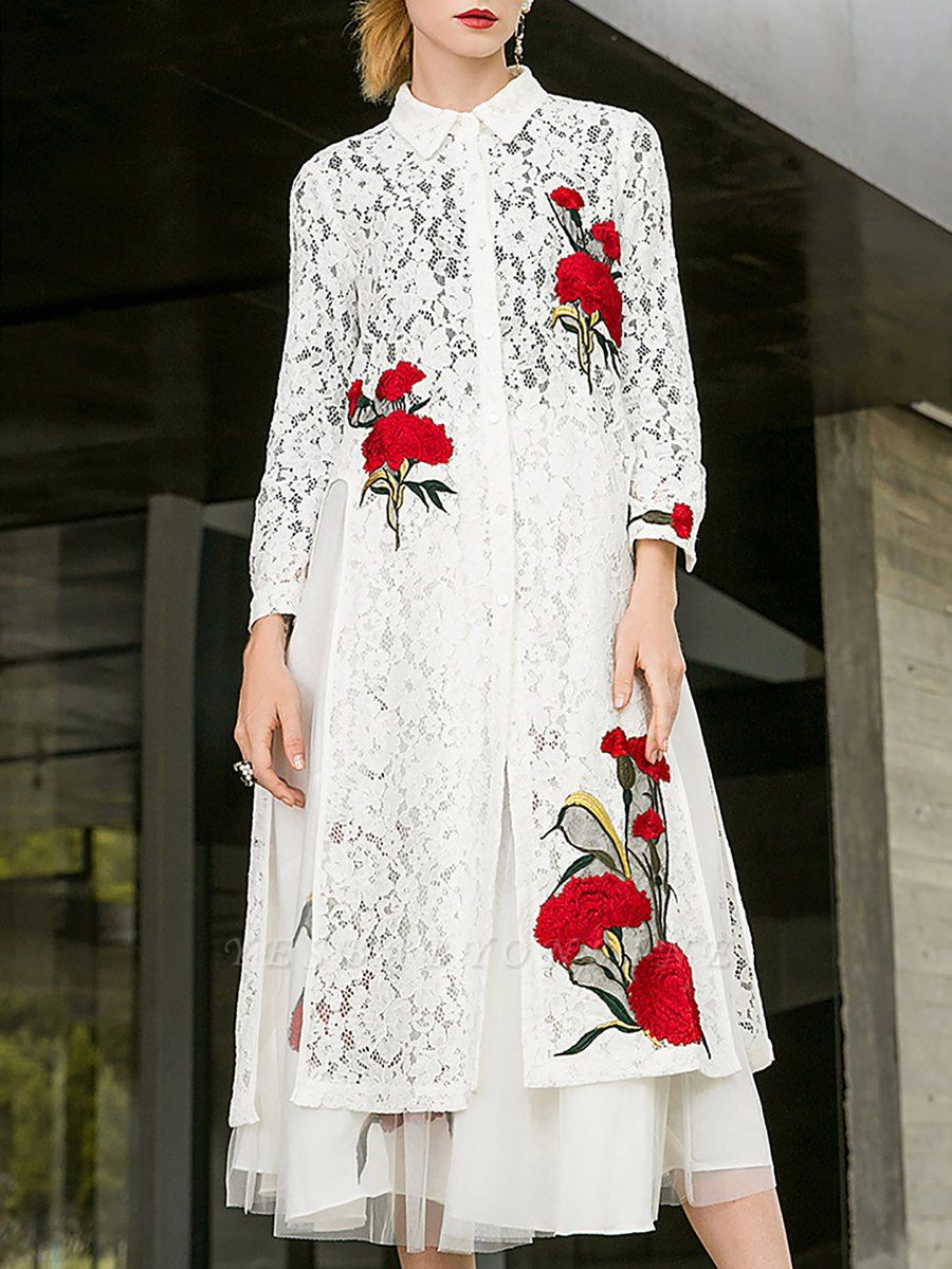 Paneled Long Sleeve Floral Casual Lace Coat