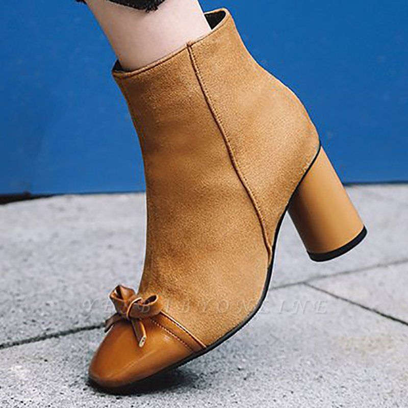Daily Zipper Square Toe Bowknot Chunky Heel Boots