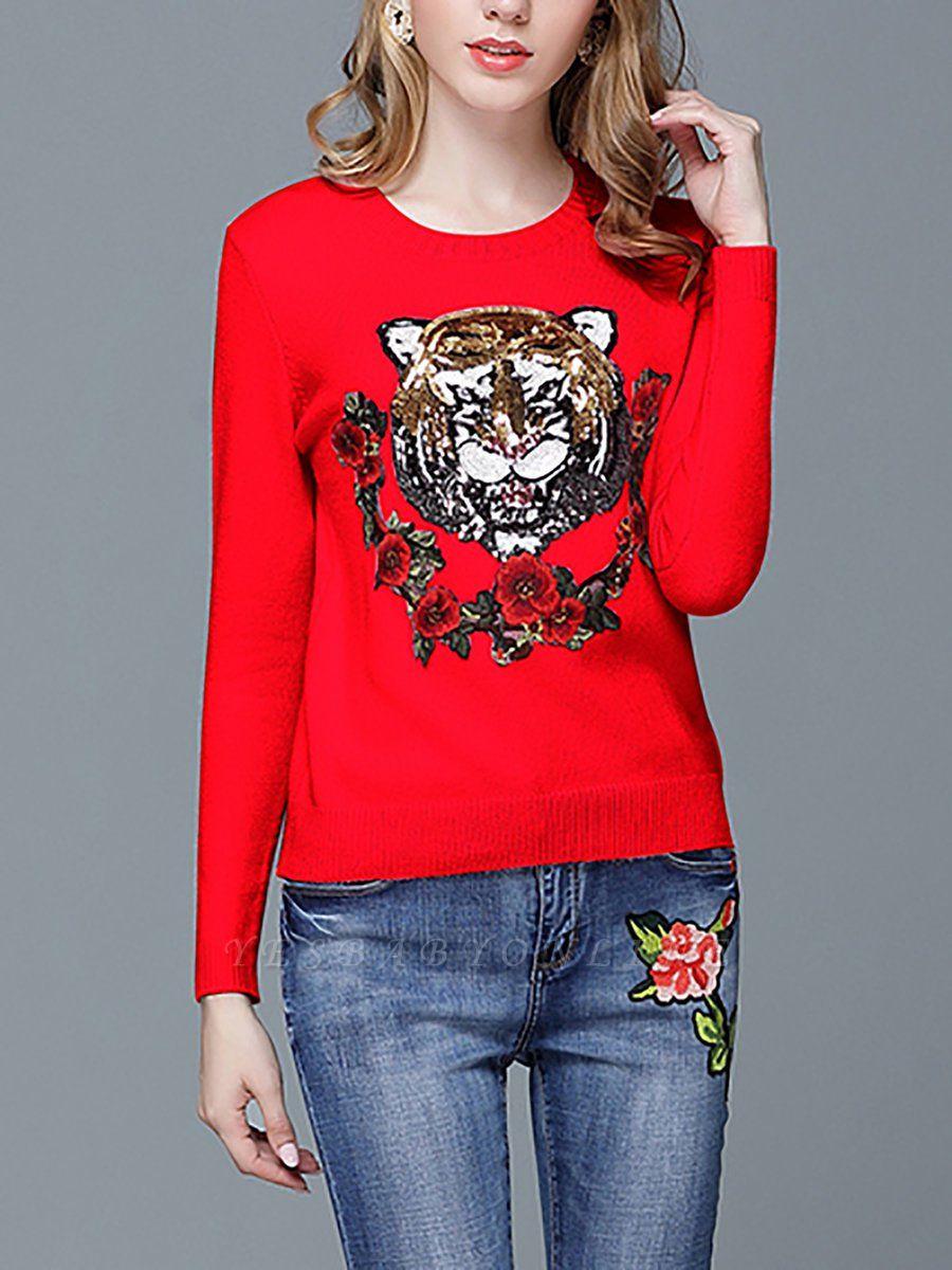 Animal Casual Long Sleeve Sweater