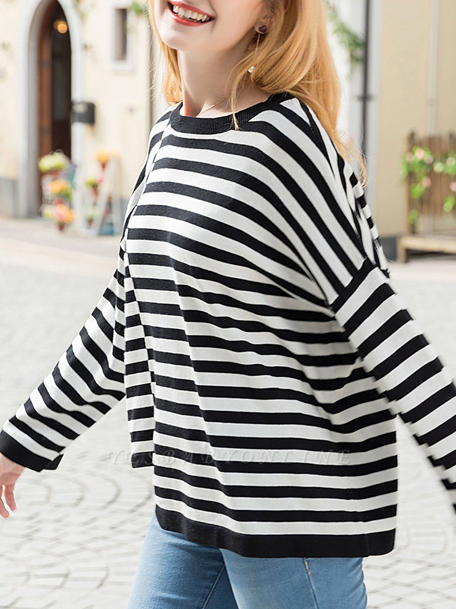 Black-white Long Sleeve Cotton Shift Printed Sweater