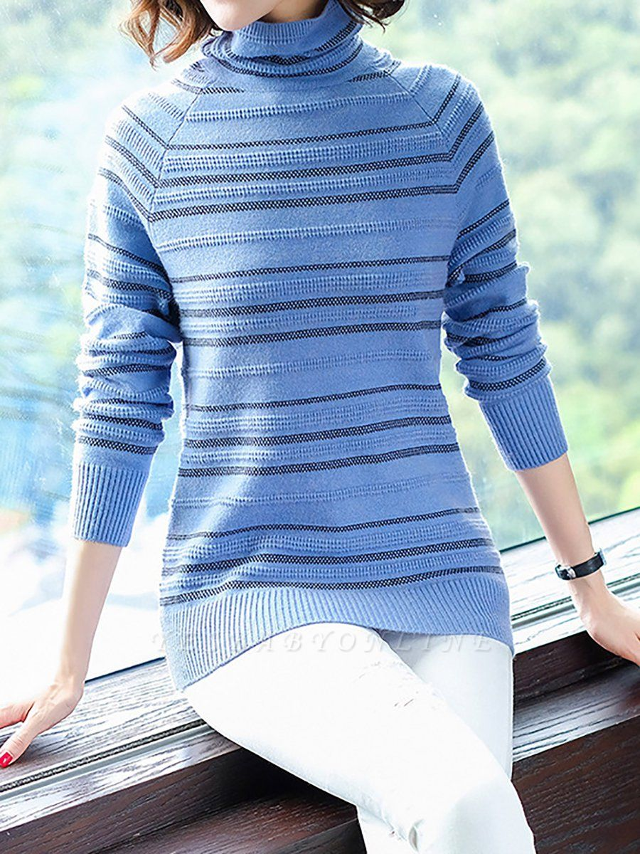 Striped Casual Long Sleeve Printed Sweater