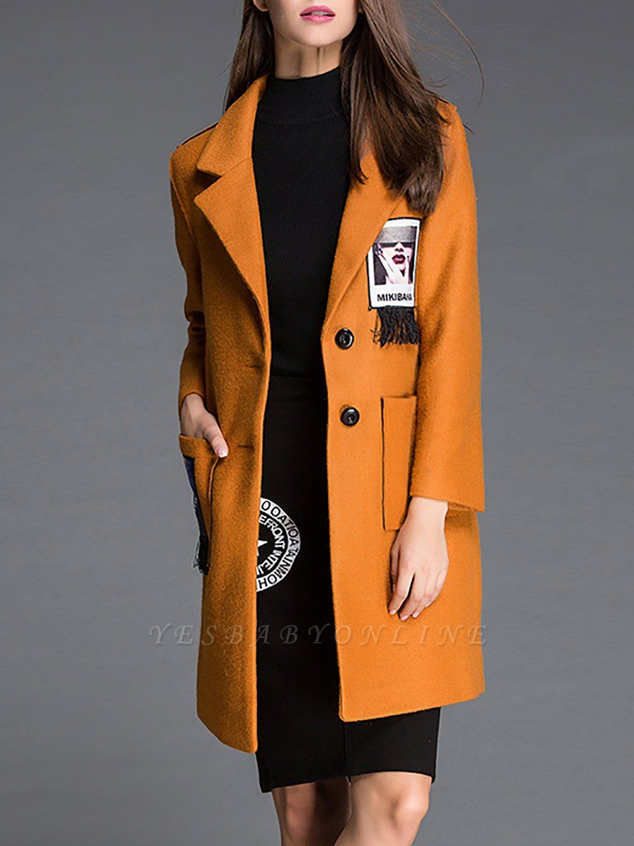 Shift Graphic Casual Long Sleeve Coat