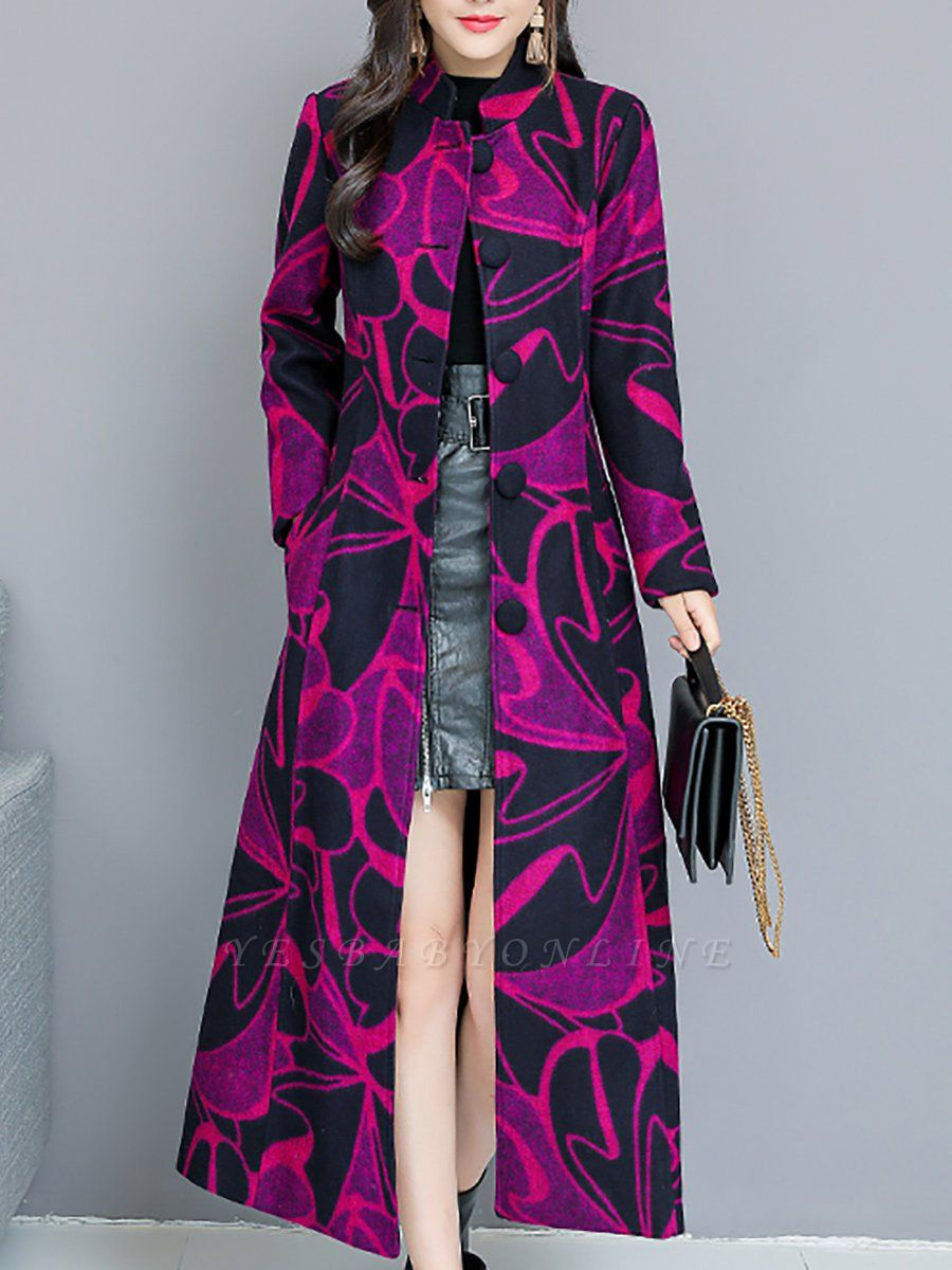 Rose Shift Casual Long Sleeve Printed Stand Collar Coat