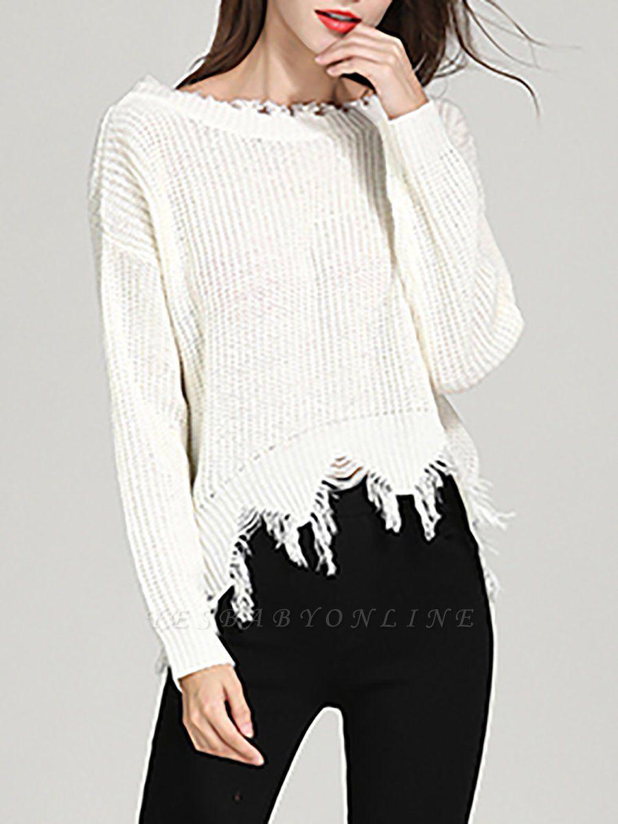 Shift Long Sleeve Bateau/boat neck Casual Fringed Sweater