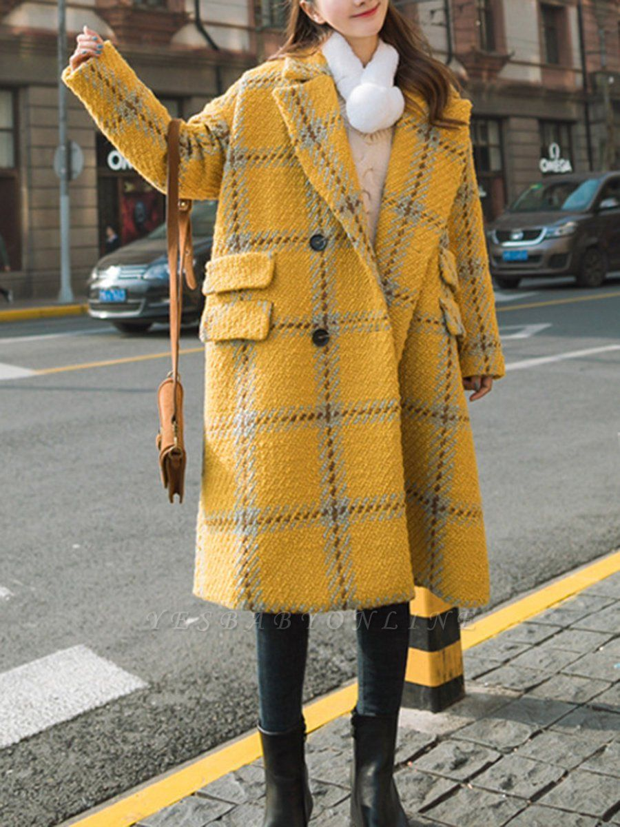 Yellow Lapel Long Sleeve H-line Buttoned Checkered/Plaid Casual Pockets Coat