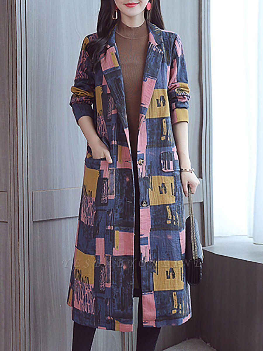Lapel Pockets Buttoned Color-block Slit Coat