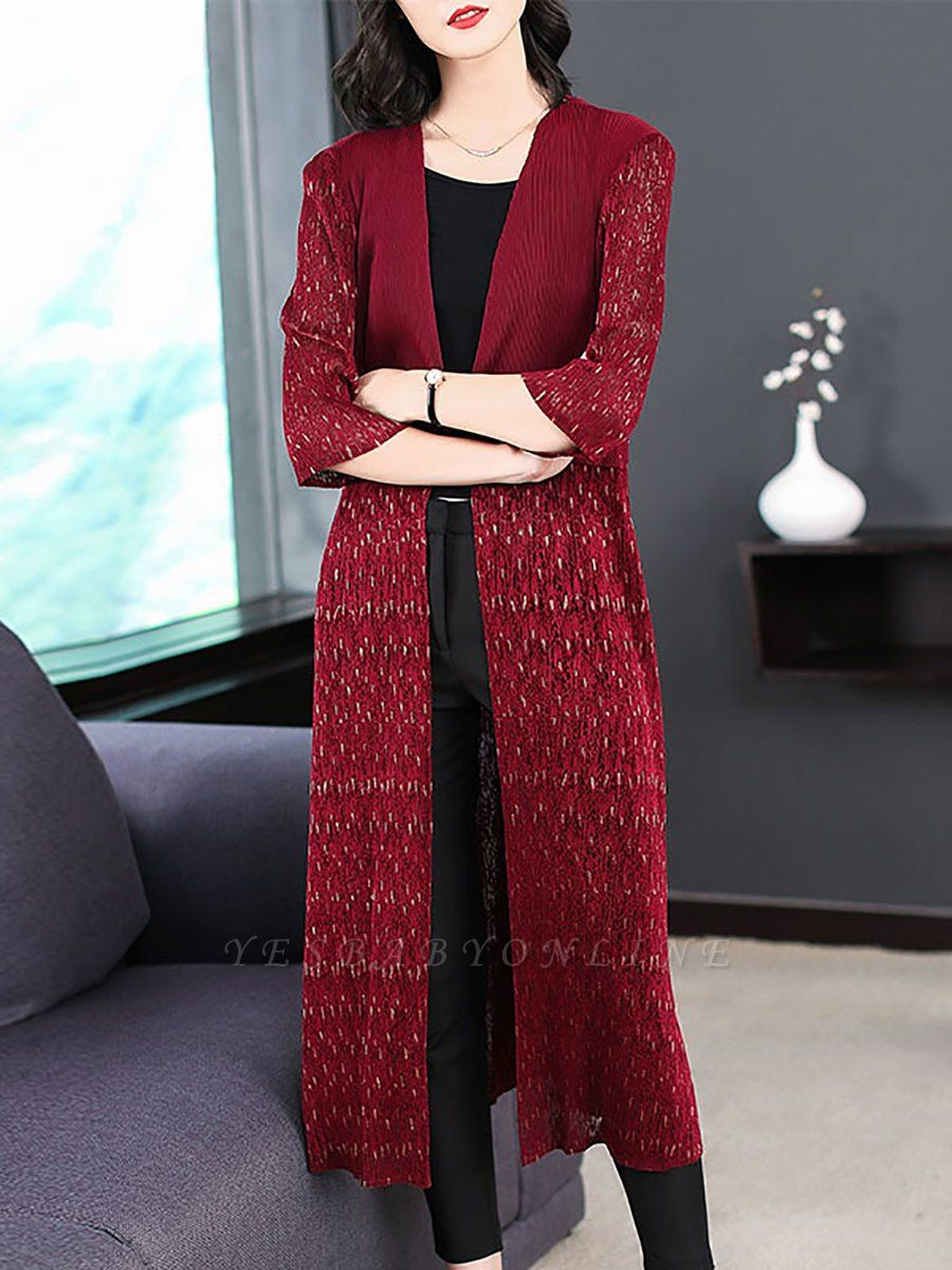 Beaded Solid 3/4 Sleeve Casual Coat