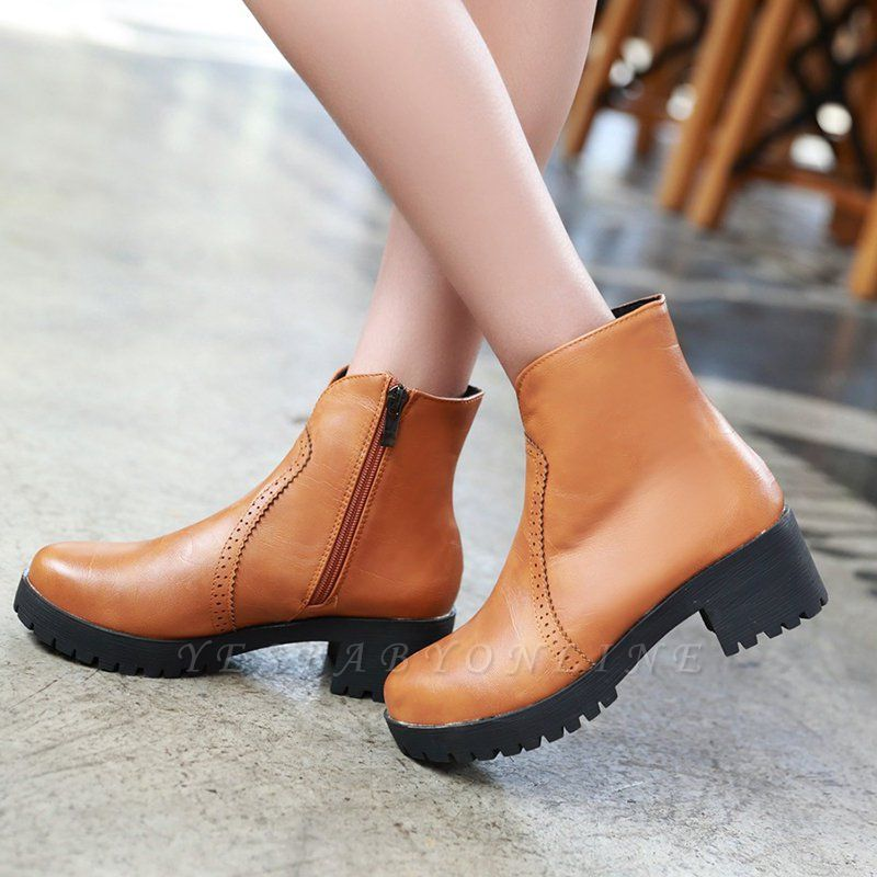 Fall PU Chunky Heel Round Toe Boot
