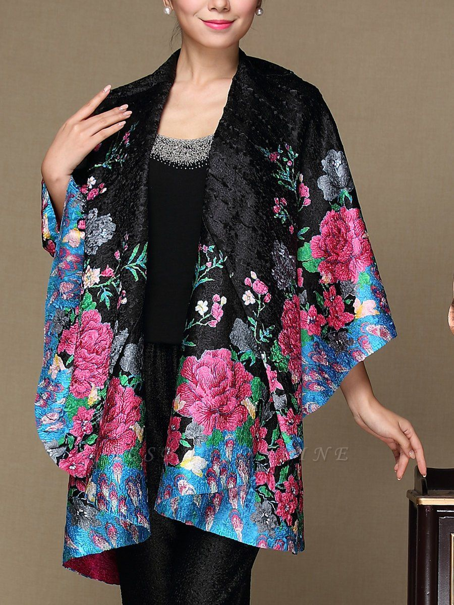 Black Long Sleeve Floral Casual Floral-print Crinkled Coat
