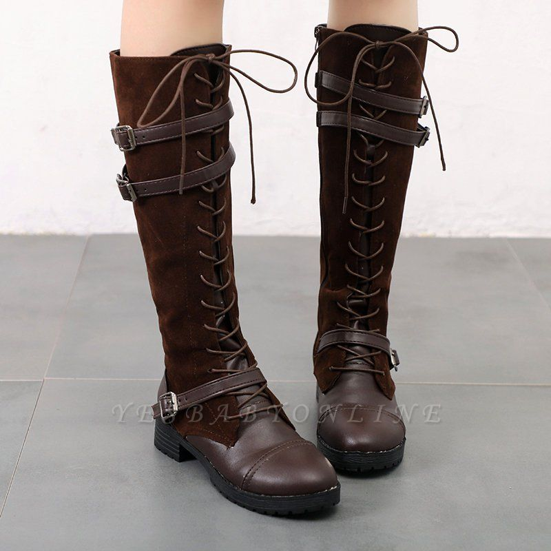 Daily Buckle Chunky Heel Suede Round Toe Lace-up Boot