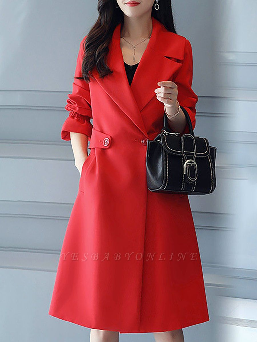 Bell Sleeve Casual Solid A-line Lapel Pockets Buttoned Paneled Coat