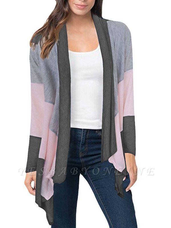 Cotton Casual Asymmetric Long Sleeve Color-block Coat
