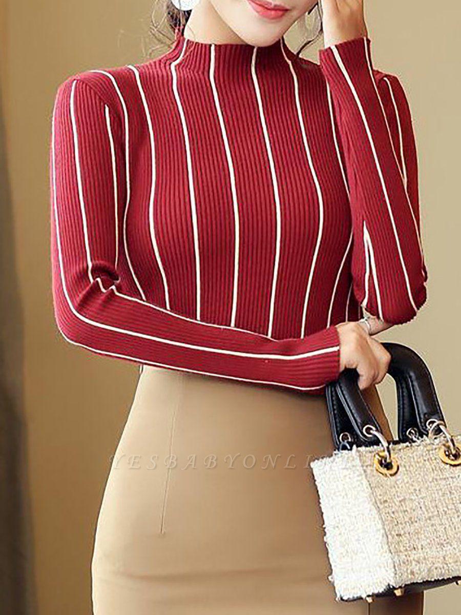 Casual Long Sleeve Sheath Sweater