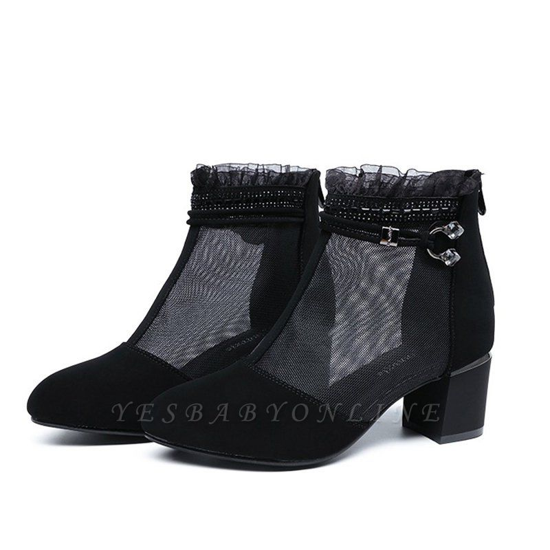 Daily Mesh Fabric Zipper Round Toe Boots