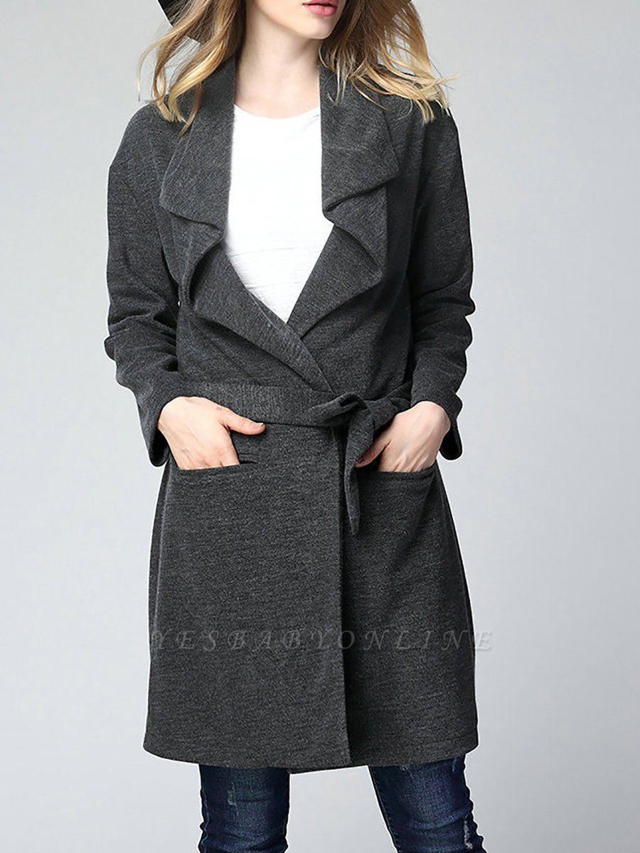 Gray Long Sleeve Casual Solid Pockets Coat