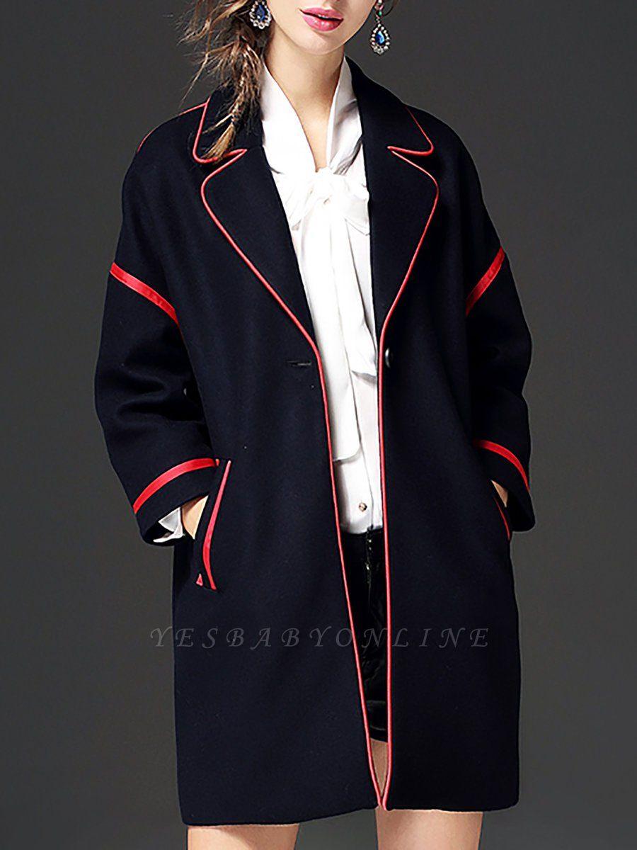 Navy Blue Long Sleeve Cocoon Casual Lapel Coat