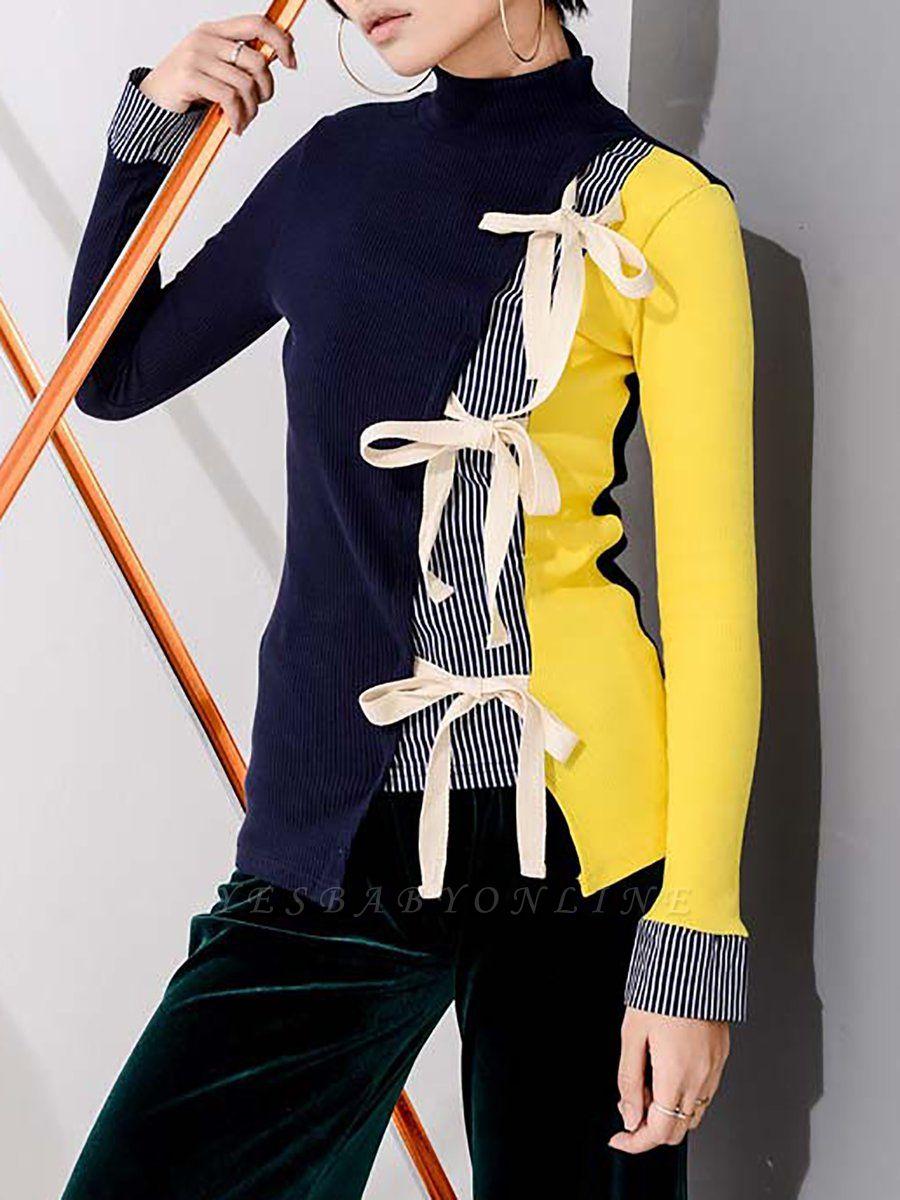 Multicolor Stand Collar Paneled Statement Sheath Sweater