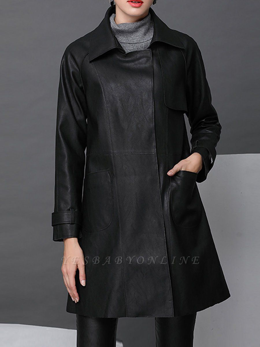 Black Leather Solid Casual Long Sleeve Coat