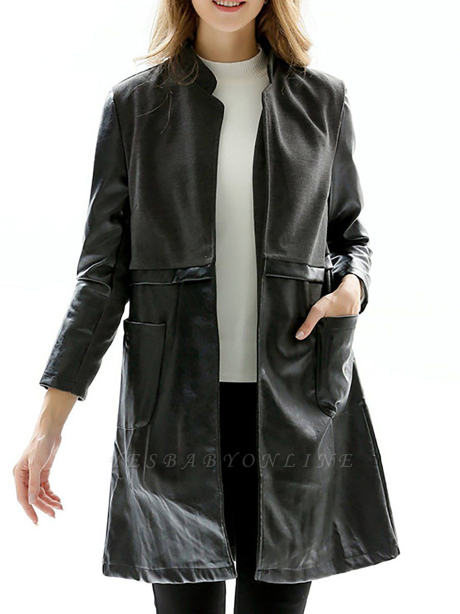 Black Long Sleeve Stand Collar Coat