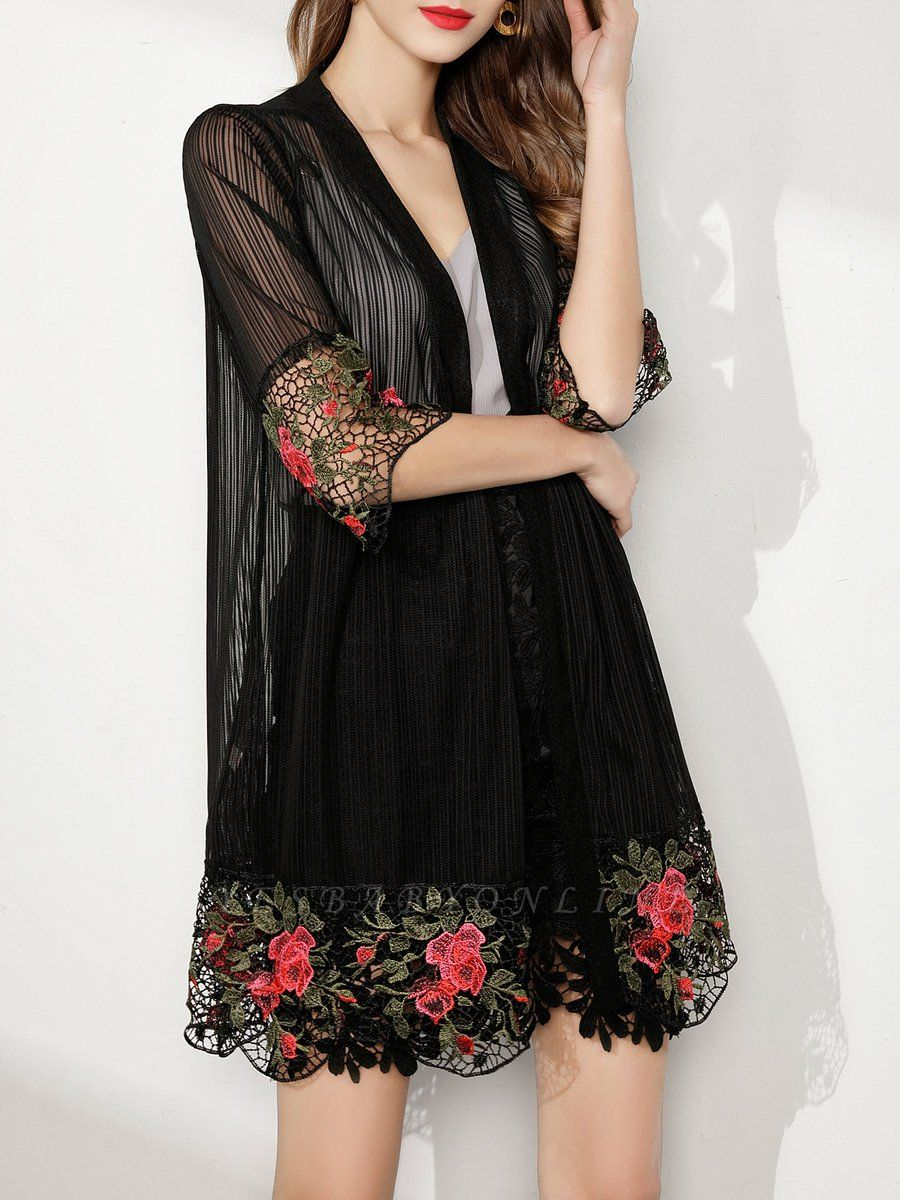 Shift Going out Casual Floral Crocheted Sunscreen Coat