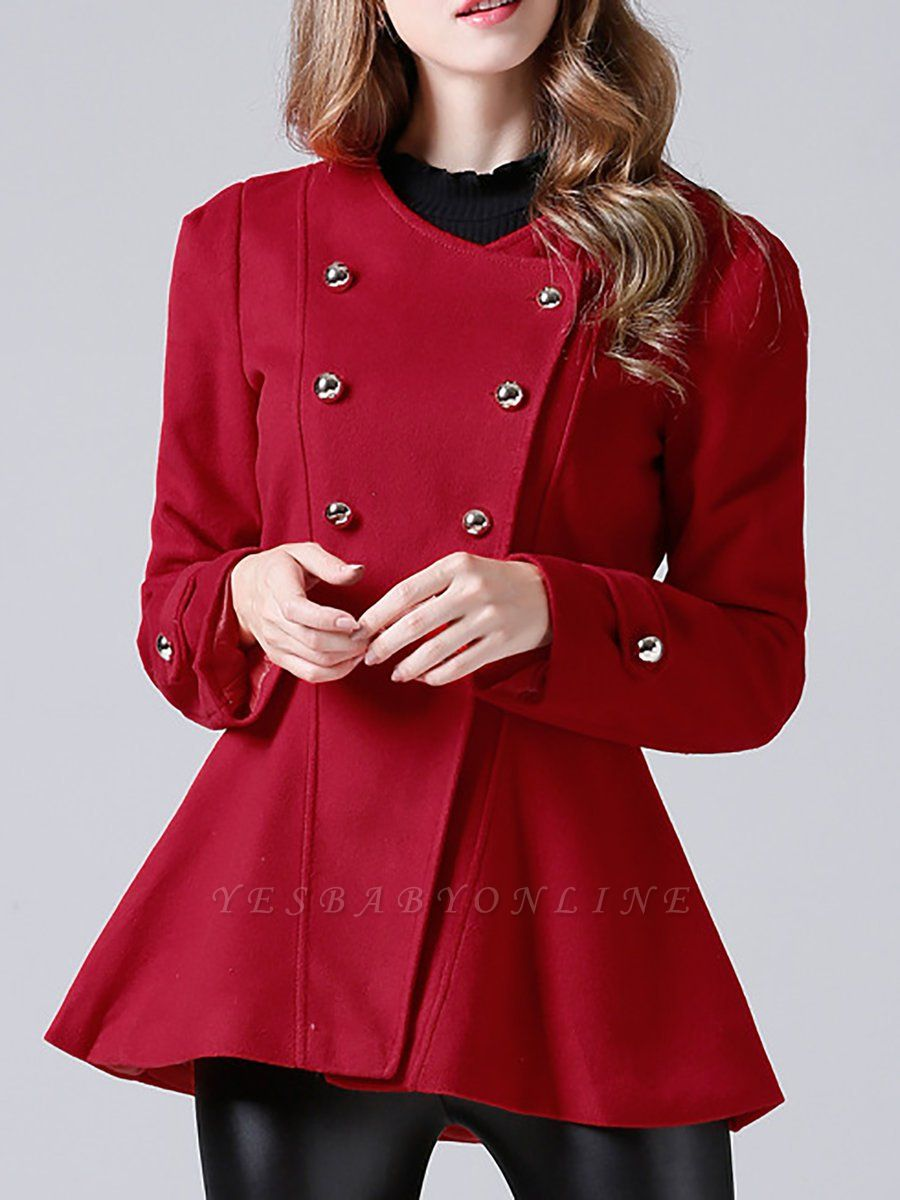 Red Buttoned Casual Shift Coat