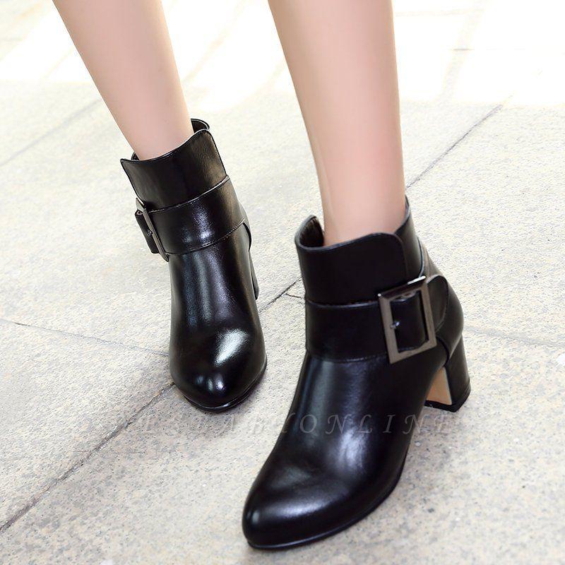 Chunky Heel Zipper Boots