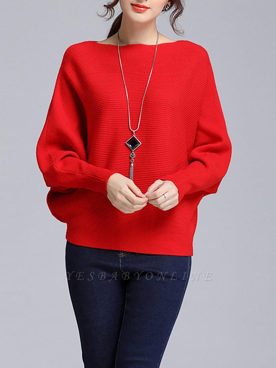 Wool Casual Batwing Sweaters