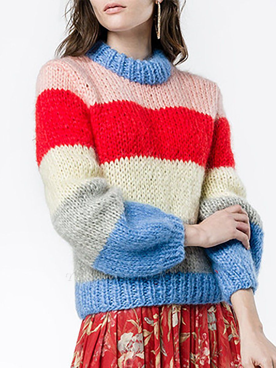 Multicolor Shift Crew Neck Casual Sweater