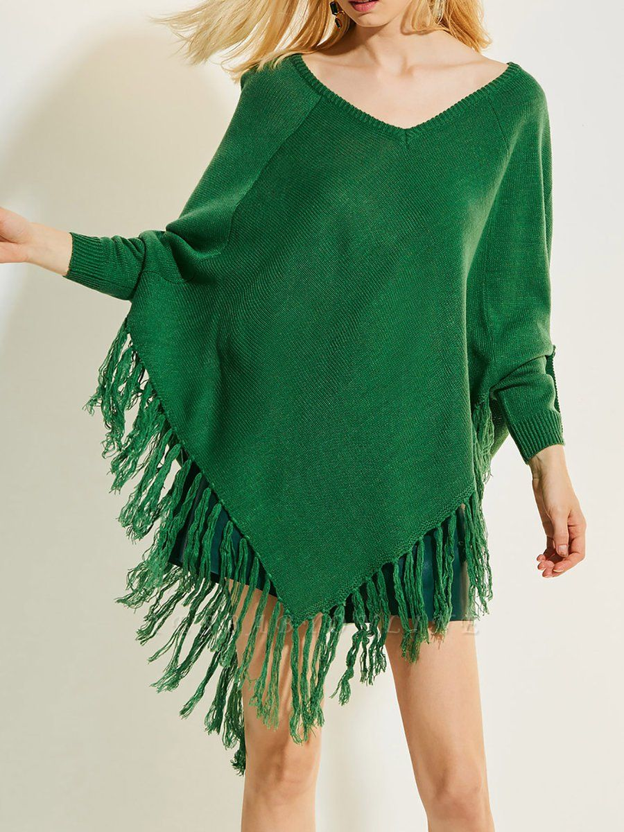 Green V neck Batwing Casual Sweater