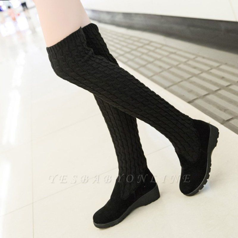 Suede Daily Wedge Heel Round Toe Boot