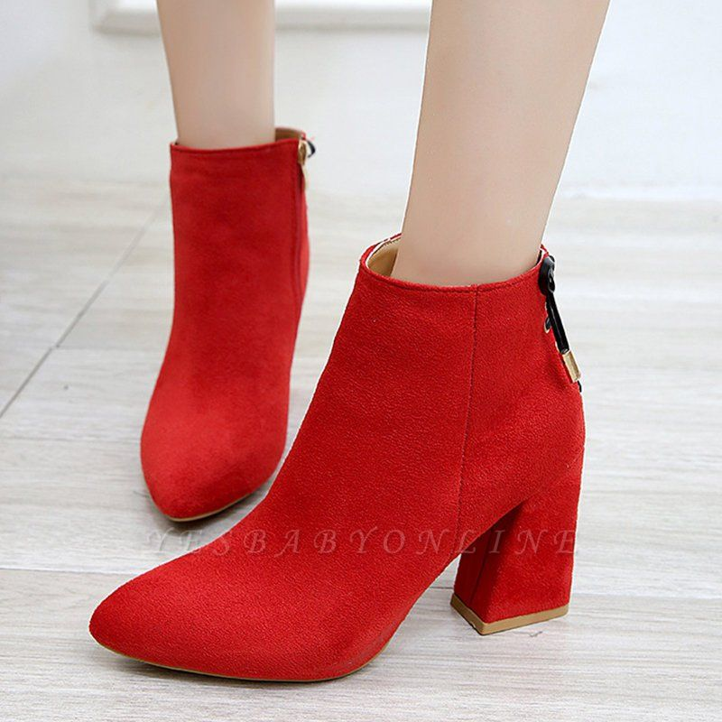 Chunky Heel Daily Lace-up Pointed Toe Zipper Elegant Boots