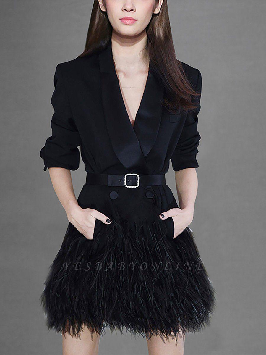 Black Statement Solid Paneled Plunging neck Coats