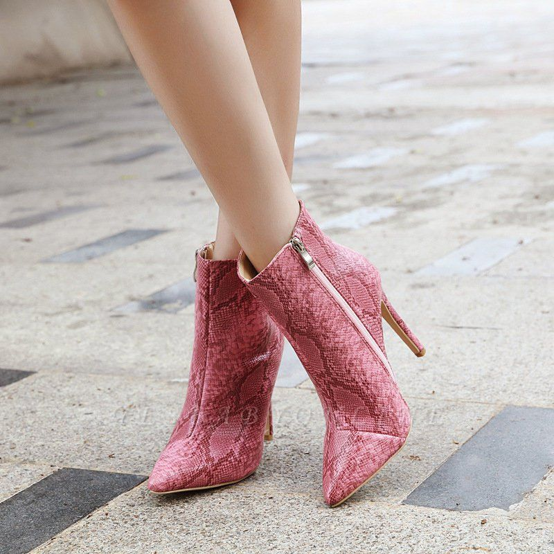 Women's Boots Stiletto Heel Pink Zipper Pointed Toe Sexy Boots