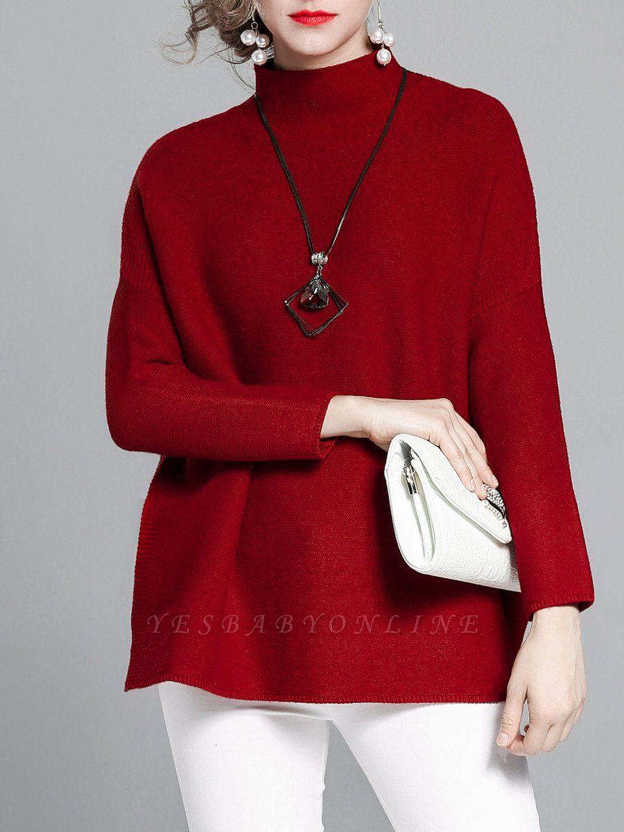 Burgundy Casual Stand Collar Solid Sweater