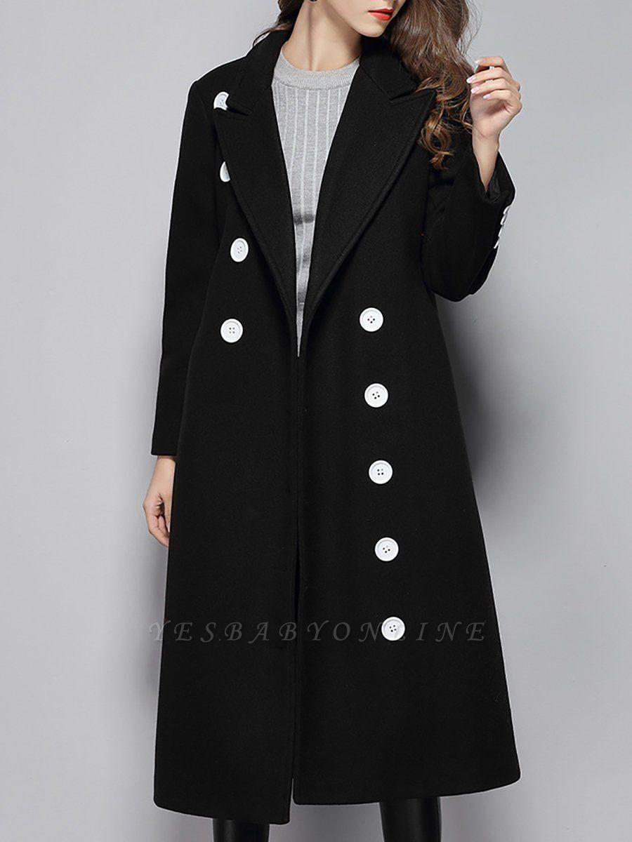 Black Buttoned Lapel High Low Slit Coat