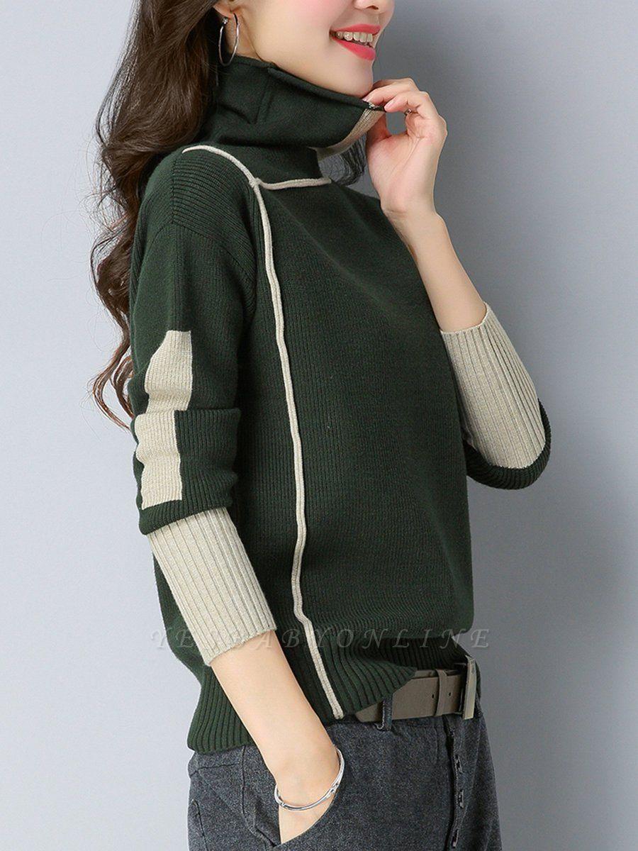 Black Turtleneck Knitted Long Sleeve Color-block Sweater