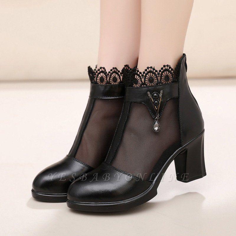 Chunky Heel Zipper Round Toe Elegant PU Boots