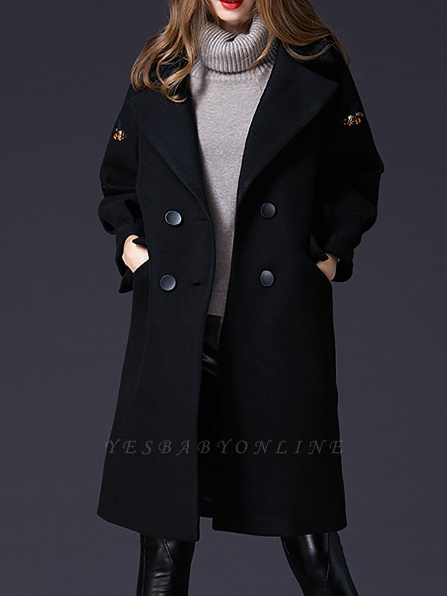 Black Lapel Balloon Sleeve Shift Buttoned Animal Embroidered Coat