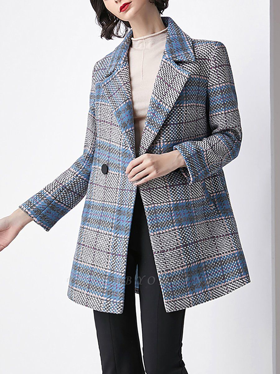 Blue Checkered/Plaid Work Buttoned Pockets Coat