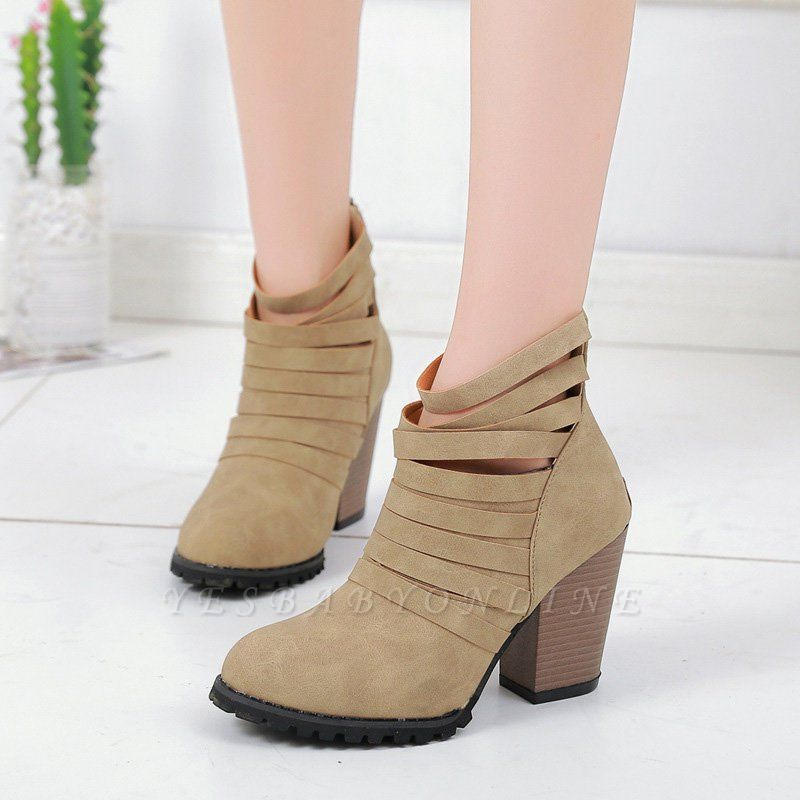 Chunky Heel Zipper Daily Pointed Toe Elegant Boots
