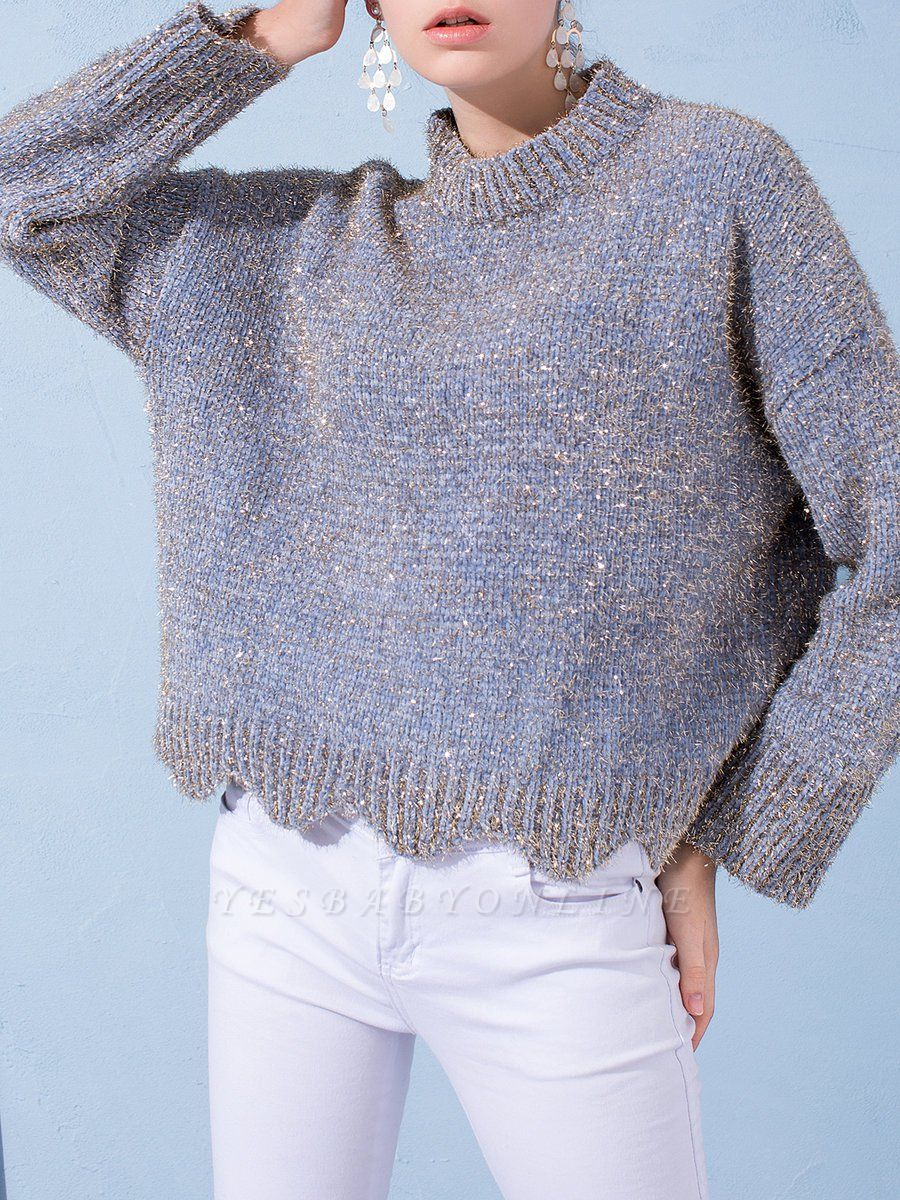 Gray Long Sleeve Casual Corduroy Stand Collar Sweater