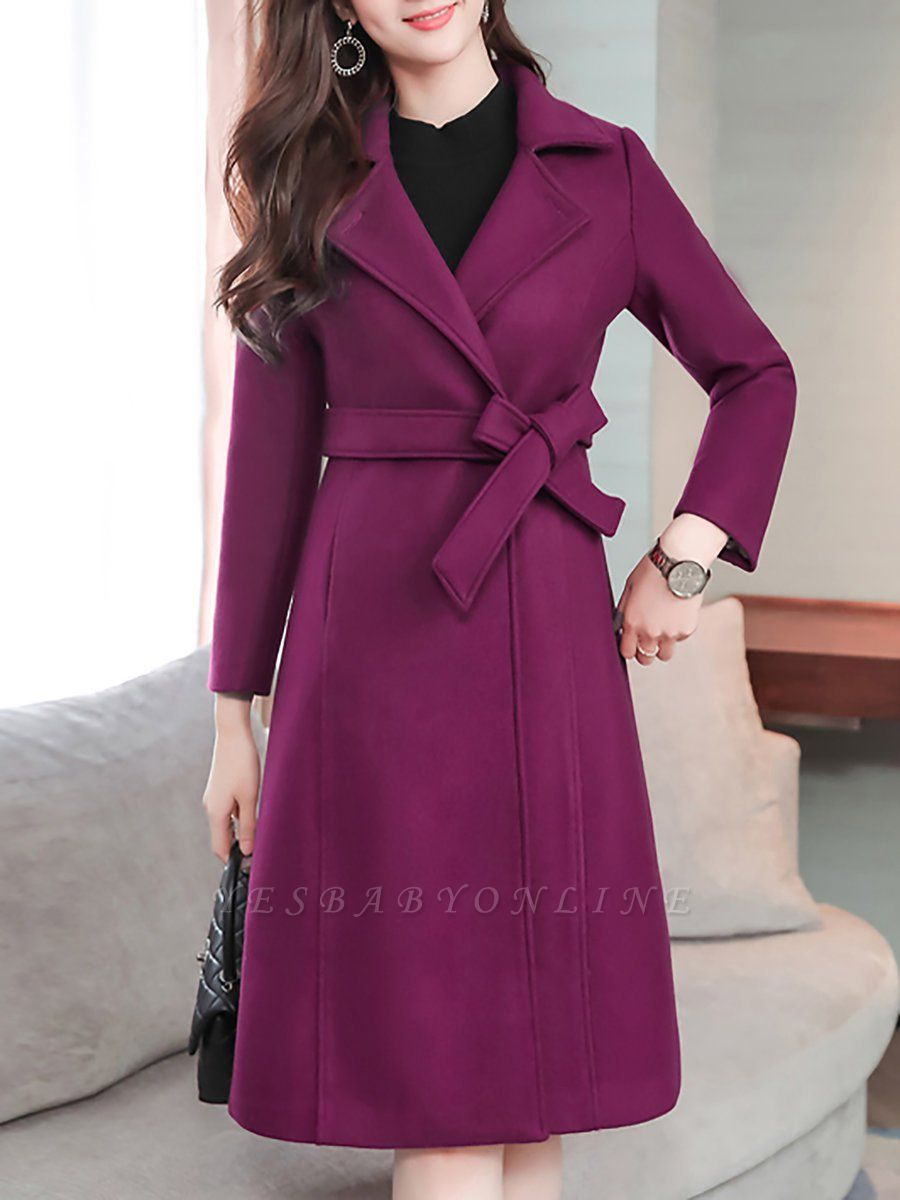 Casual Pockets Long Sleeve Lapel Coat