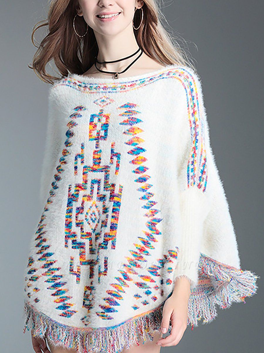 Crew Neck Casual Batwing Sweater