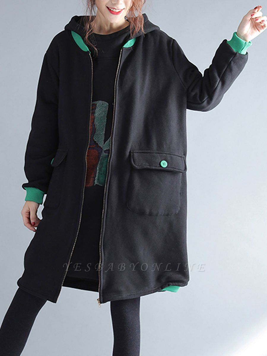 Casual Hoodie Zipper Long Sleeve Shift Pockets Printed Coat