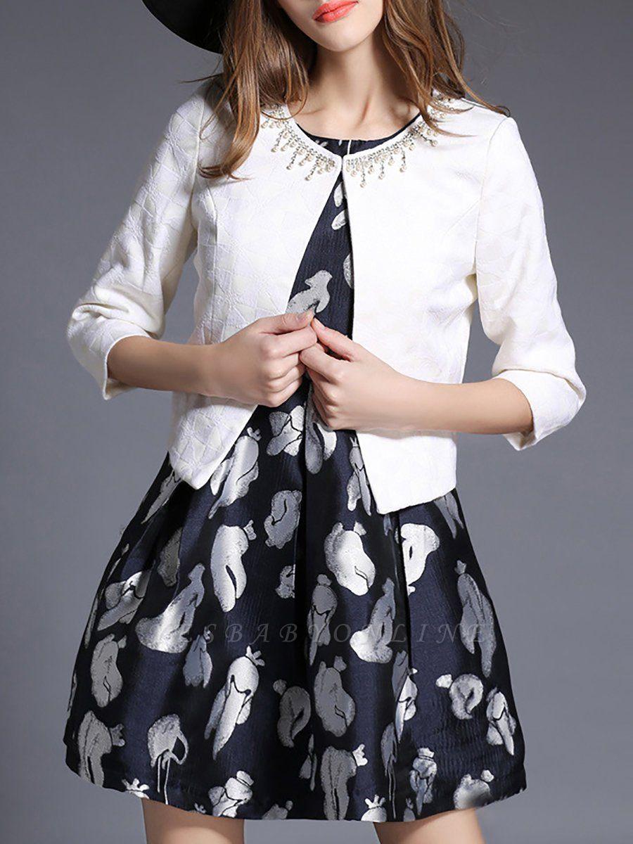 White Beaded 3/4 Sleeve Summer Solid Coat