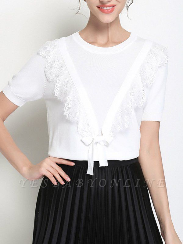 Ice Yarn Casual Shift Knitted Short Sleeve Sweater